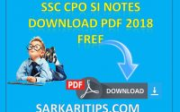SSC CPO SI Notes Download PDF 2018 Free