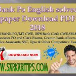 Bank Po English solved paper Download PDF 2018