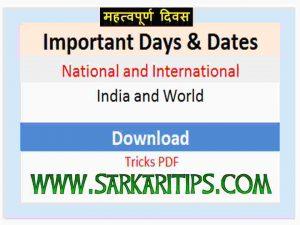 Important National International Days Dates list PDF
