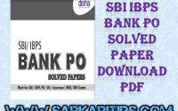 SBI IBPS Bank PO Solved Paper Download PDF