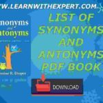 List Of Synonyms and Antonyms PDF Book