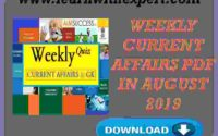 Weekly Current Affairs PDF in August 2019