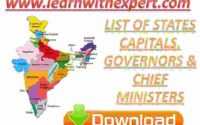 List of States Capitals, Governors & Chief Ministers