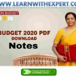 Summary of Union Budget 2020 - 21