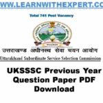 UKSSSC Previous Year Question Paper PDF Download